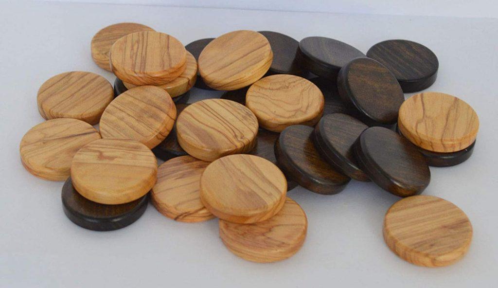 Backgammon Steine aus Olivenbaumholz