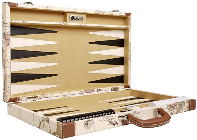 Luxus Backgammon Koffer mit Weltaufdruck