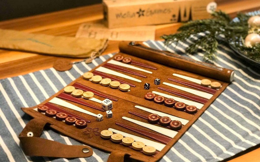 Reise Backgammon Leder