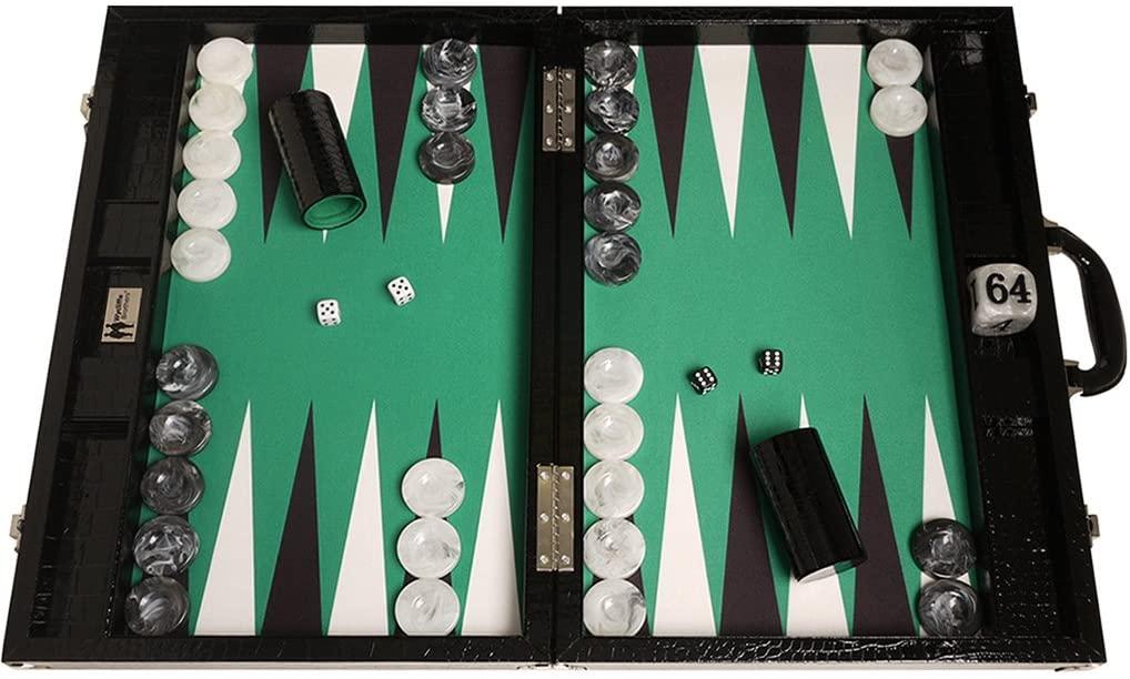 Backgammon Koffer mit Krokodil-Leder Imitat
